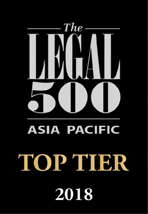 Legal 500 Asia Pacific Top Tier 2018